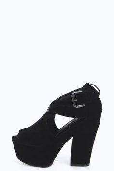 442264331107 Maisie Peep Toe Cross Strap Suedette Platform Heels Clearance Shoes