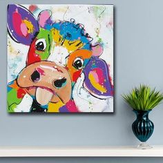 Wall Art Animal Pop Art Cute little Cow Oil Painting Wall Art Paiting Canvas Paints Home Decor Abstract Print Painting Modern Wall Decor<br> Cow Paintings On Canvas, Cow Canvas, Funny Paintings, Mini Canvas Art, Simple Oil Painting, Simple Acrylic Paintings, Acrylic Painting Canvas, Diy Painting, Painting Flowers