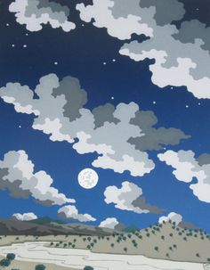 Doug West Serigraph Screen Print Signed Numbered 130/300 Dated 1995 Night Moon #Realism