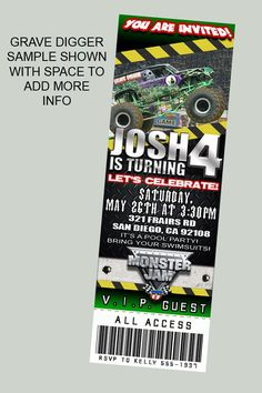Monster Jam Truck Theme Personalized Birthday Party Ticket Invitations self print.. $11.99, via Etsy.