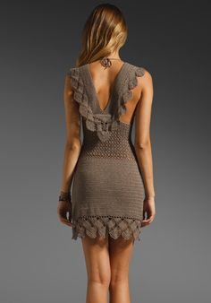 Lisa Maree Miss Priss Crochet V Neck Dress in Brown (latte) - Lyst Crochet Woman, Knit Crochet, Knit Dress, Dress Skirt, Crochet Fashion, Crochet Designs, Crochet Clothes, Day Dresses, Couture