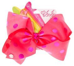 Pink Jojo Siwa bow with purple polka dots Jojo Hair Bows, Jojo Bows, Pink Hair Bows, Bright Pink Hair, Pink Purple, Big Bows, Cute Bows, Pink Polka Dots, Polka Dot Print