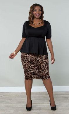 Curvy Woman Leopard Print Pencil Skirt Black Top and Black High Heels