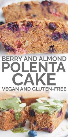 Start your morning with a slice of vegan polenta cake and a cup of tea! This dairy-free sweet treat is vegan, gluten-free and oil-free, and made from healthy ingredients. Perfect as either breakfast or dessert. Cereal Recipes, Vegan Dessert Recipes, Vegan Breakfast Recipes, Delicious Vegan Recipes, Baking Recipes, Whole Food Recipes, Gf Recipes, Cake Recipes, Recipies