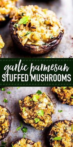 Easy stuffed mushrooms full of garlic and parmesan flavors! The simple filling comes together quickly and everybody loves how full of flavor it is. Make them for your next holiday party - they will be gone in no time. The perfect appetizer for Thanksgivi Thanksgiving Appetizers, Appetizers For Party, Appetizer Recipes, Appetizers Superbowl, Christmas Appetizers, Vegetarian Recipes, Cooking Recipes, Healthy Recipes, Burger Recipes