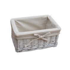 Small White Wicker Storage Basket - Lined  sc 1 st  Pinterest & 106 best Storage Baskets images on Pinterest | Storage baskets ...
