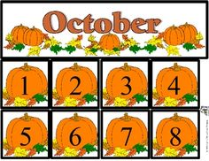 Free October Calendar Set includes month and number cards.