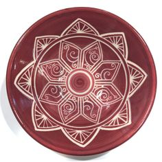 Sgraffito Rose Mandala Carved Porcelain Bowl by PaulaFocazioArt on Etsy
