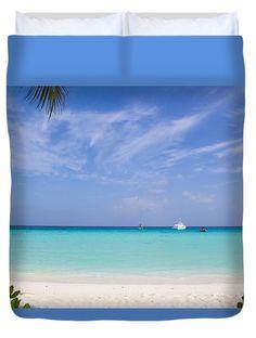 Relax Tropical Island Duvet Cover by Yana Reint #YanaReintFineArtPhotography #FineArt #Pillow #DuvetCover #Homedecor #Artforhome #Maldives #ocean #Island