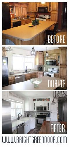 How we updated our basic kitchen with painted cabinets, a tile backsplash, and new countertops. www.BrightGreenDoor.com