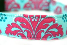 Dog Collar in Stunning Pink and Blue. $17.00, via Etsy.