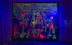Animal Party (Blacklight) by the HAAS Bro's. Silk screen on mylar with black light.