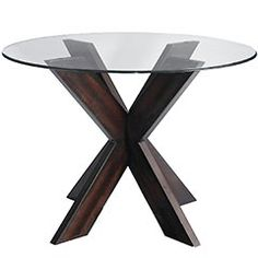 I would like to DIY two scaled-down versions of this dining table to use as end tables in the living room. (Perhaps using the round glass tops on our existing end tables?)