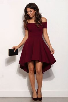 High Low Simple Style Cheap Burgundy Party Dress Sexy Off The Shoulder Cocktail Gowns 2017 Vestidos De Festa High Low Prom Dresses, Hoco Dresses, Pretty Dresses, Beautiful Dresses, Dresses To Wear To A Wedding, Dresses For Wedding Guests, Hi Low Bridesmaid Dresses, Semi Formal Dresses For Wedding, Woman Dresses