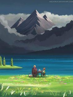 Art Studio Ghibli, Studio Ghibli Movies, Desu Desu, Lake Art, Fantasy Paintings, Howls Moving Castle, Hayao Miyazaki, Animes Wallpapers, Illustration Art
