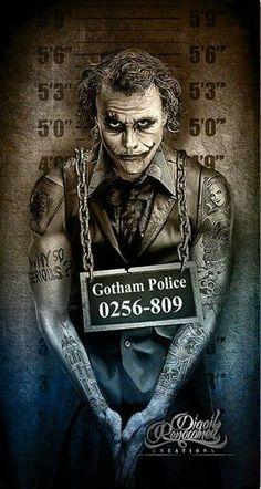 The Joker, Gotham City Police mugshot by Marcus Jones Der Joker, Joker Und Harley Quinn, Heath Ledger Joker, Joker Art, Joker Batman, Joker Poster, Joker Images, Joker Pics, Fotos Do Joker