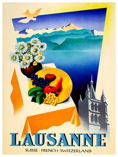 Swiss Travel Poster Switzerland Wall Art Print by Blivingstons