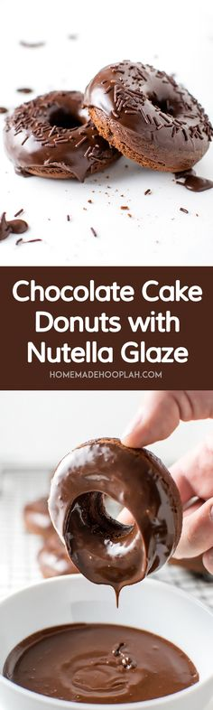 Chocolate Cake Donuts with Nutella Filling