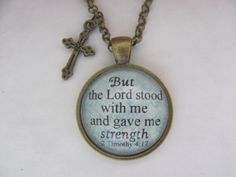 Bible Verse Pendant Necklace But the Lord stood by RedeemedJewelry, $14.00
