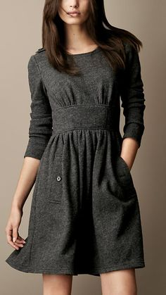 Gathered Wool Dress | Burberry
