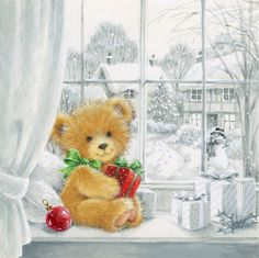 Leading Illustration & Publishing Agency based in London, New York & Marbella. Magical Christmas, Christmas Art, Vintage Christmas, Christmas Teddy Bear, Christmas Animals, Christmas Scenes, Christmas Pictures, Christmas Paintings On Canvas, Bear Wallpaper