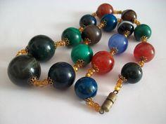 Fine Art Deco banded agate, lapiz lazuli , tigers eye and malachite necklace  £42.00 (11B) +6.45PP