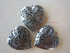 3PCS - Gunmetal - Heart Pendant Settings -
