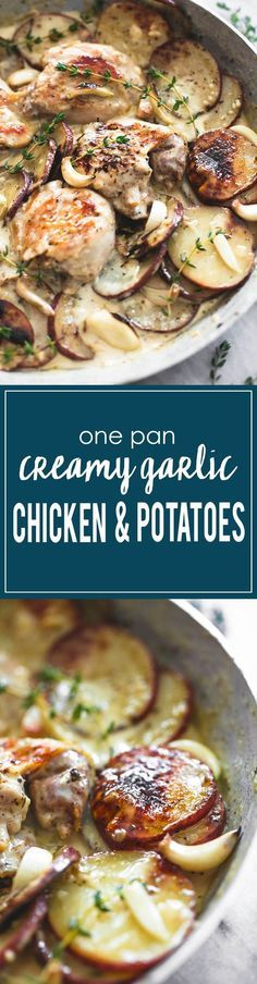 One Pan Creamy Garlic Herb Chicken & Potatoes | http://lecremedelacrumb.com