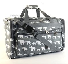 Monogrammed 22 Gray Elephant DUFFLE Bag  by FashionateBoutique