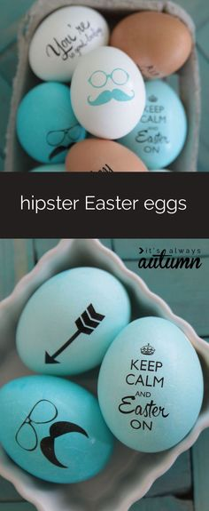 how clever to use temporary tattoo paper. All the info is here. egg sayings cute A Fun Spring Craft - Easy Hipster Easter Eggs Spring Crafts, Holiday Crafts, Holiday Fun, Hoppy Easter, Easter Eggs, Easter Table, Easter Bunny, Temporary Tattoo Paper, Diy Ostern
