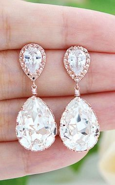 Rose Gold plated Clear White Swarovski Crystal Tear Drops