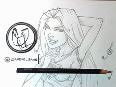 Linda Danvers Super girl art pinup toon WIP.  Art by Leandro Sans.