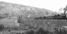 """Un treno sul viadotto """"Mortilli"""", lungo la linea Palermo Sant'Erasmo-Corleone-San Carlo"""