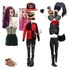 """""""Gotham Girls"""" by shootunicorns ❤ liked on Polyvore featuring River Island, Harley-Davidson, H&M, Versace, Forever 21, Topshop, Valentino, batman, catwoman and harleyquinn"""