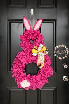 Pink Bunny Wreath, Ruffle Burlap Wreath, Spring Bunny Wreath, Easter Bunny Wreath, Hot Pink Bunny, Fun and Colorful Bunny Wreath by VirgiesTreasures on Etsy