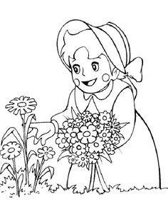 Heidi e i fiori disegni da colorare gratis