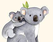 kids room art, Alphabet animals, Watercolor painting, Koala print, 8x10, Mother and baby koala, K is for Koala, Koala illustration #EasyNip