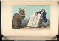 20 December 1807.Bodleian Libraries, Iohn Bull refreshing the bears memory. Satire on the Napoleonic wars.(British political cartoon);John Bull points to the pages of a large book,John Bulls journal,intended to show the justice of the British attack on Copenhagen.The Russian bear wears a collar inscribed: This bear belongs to Napoleon.