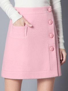Single Breasted A-Line Pink Skirt With Pocket Mobile Site - fashionable skirts A Line Skirts, Short Skirts, Mini Skirts, Wool Skirts, Skirt Outfits, Dress Skirt, Skater Skirt, First Date Outfits, Trendy Outfits