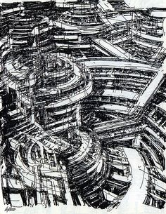 archisketchbook - architecture-sketchbook, a pool of architecture drawings, models and ideas - Gerald Exline. A+U, 1991 - -