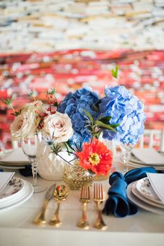 Kati Hewitt Photgraphy The George Hotel Red, White, Blue Wedding College Station, TX - Century Square, Red White blue, Texas, Americana wedding, american sentry gold flatware