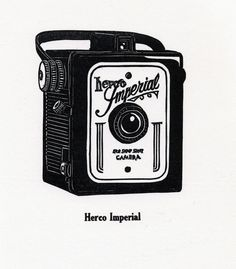 Items similar to Herco Imperial - life size letterpress linoleum print on Etsy Camera Photography, Vintage Photography, Engraving Illustration, Vintage Fur, Handmade Journals, Wood Engraving, Vintage Cameras, Letterpress Printing, Linocut Prints