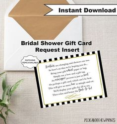 gift card shower invitations 1 00 each like the wording bridal