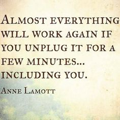 I love this reminder from @ANNELAMOTT. Have you taken time to #unplug today?