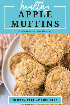 These Healthy Apple Muffins are made with whole grain oats and sweetened with just a touch of honey, making them the perfect simple fall breakfast! Clean Eating Muffins, Easy Clean Eating Recipes, Clean Eating Breakfast, Healthy Muffins, Healthy Breakfast Recipes, Snack Recipes, Muffin Recipes, Healthy Gluten Free Recipes, Gluten Free Baking