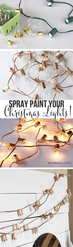spray paint christmas lights for a mantle or table