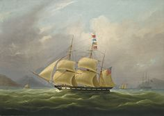 "The barque ""Sylph"", beloging to Mr. Alexander Robertson off the Macao, China WILLIAM JOHN HUGGINS UNKNOWN 1781 - 1845 LONDON oil on canvas 68 by 96 cm.; 26 3/4 by 37 3/4 in."