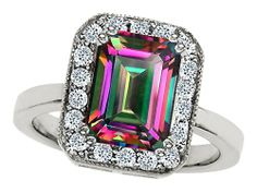 Star K Emerald Cut Simulated Emerald Ring in Sterling Silver Size Women's, Size: Width: 12 mm Length: mm, green Rainbow Topaz, Pink Sapphire Ring, Rings For Her, Engagement Ring Sizes, Emerald Cut, Unique Rings, Jewelry Collection, Heart Ring, Wedding Rings