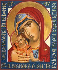 """Icone della Madre di Dio """"Dipingendo la Tua immagine tutta degna di onore, san Luca, scrittore del vangelo di Cristo, ispirato dalla voce divina..."""