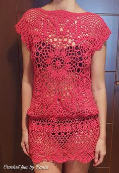 Short Sleeve Dresses, Dresses With Sleeves, Crochet Dresses, Crocheting, Lily, Bikinis, Fashion, Crochet Batwing Tops, Templates